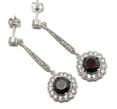 Solid .925 Sterling Silver, 7.50ctw Black Spinel & 0.25ctw White Diamoniqiue Earrings