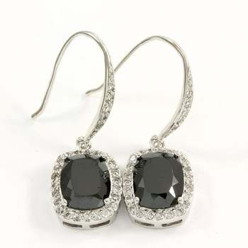 Solid .925 Sterling Silver, 7.50ctw Black Spinel & White Topaz Earrings
