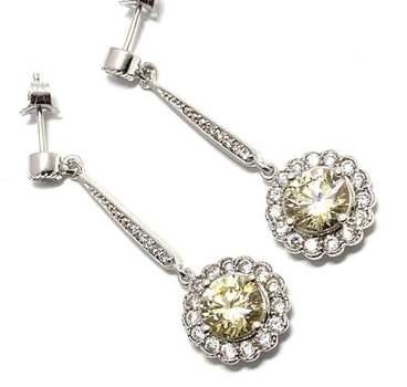 Solid .925 Sterling Silver, 7.50ctw Canary Diamonique & 0.25ctw White Diamoniqiue Earrings