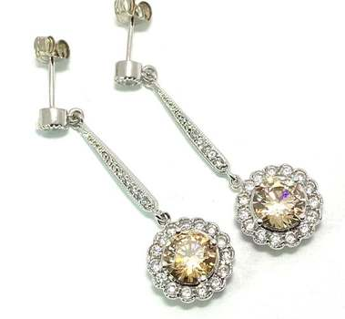 Solid .925 Sterling Silver, 7.50ctw Champagne Topaz & 0.25ctw White Diamoniqiue Earrings