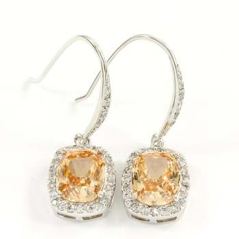 Solid .925 Sterling Silver, 7.50ctw Champagne Topaz & White Topaz Earrings