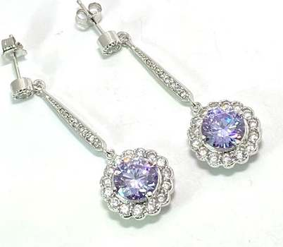 Solid .925 Sterling Silver, 7.50ctw Lavender Amethyst & 0.25ctw White Diamoniqiue Earrings
