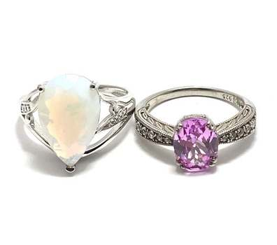 Solid .925 Sterling Silver, 7.50ctw Opal & 2.50ctw Pink Topaz & 0.20ctw White Diamonique Lot of 2 Rings Size 6.5; 7.5