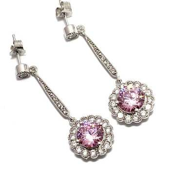 Solid .925 Sterling Silver, 7.50ctw Pink Topaz & 0.25ctw White Diamoniqiue Earrings