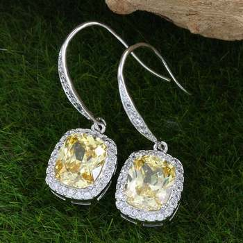 Solid .925 Sterling Silver, 7.50ctw Yellow Topaz & White Topaz Earrings