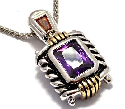 Solid .925 Sterling Silver, 7.5ctw Amethyst & 0.25ctw Golden Topaz Necklace