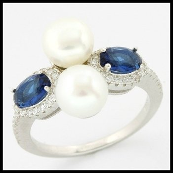 Solid .925 Sterling Silver, 7mm Freshwater Pearl, Sapphire & (AAA Grade) CZ's Ring sz 9