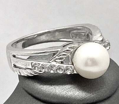 Solid .925 Sterling Silver, 7mm Pearl & 0.25ctw White Diamonique Ring Size 7