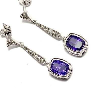 Solid .925 Sterling Silver, 8.0ctw Amethyst & 0.10ctw White Diamoniqiue Earrings
