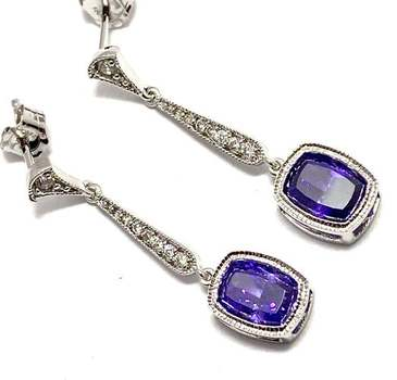 Solid .925 Sterling Silver, 8.0ctw Amethyst & 0.10ctw White Diamoniqiue Earrings