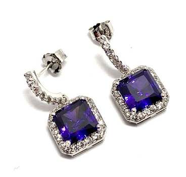 Solid .925 Sterling Silver, 8.0ctw Amethyst & 0.25ctw White Diamoniqiue Earrings