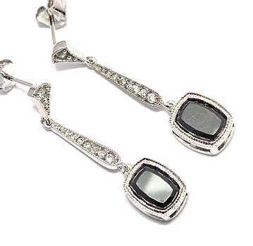 Solid .925 Sterling Silver, 8.0ctw Black Spinel & 0.10ctw White Diamoniqiue Earrings