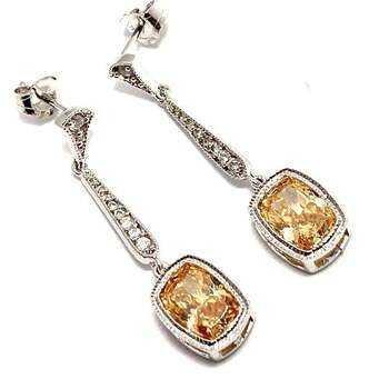 Solid .925 Sterling Silver, 8.0ctw Champagne Topaz & 0.10ctw White Diamoniqiue Earrings