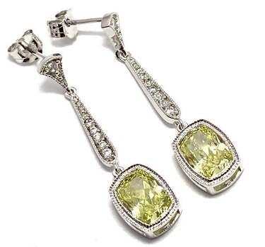 Solid .925 Sterling Silver, 8.0ctw Peridot & 0.10ctw White Diamoniqiue Earrings