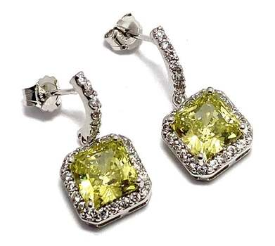 Solid .925 Sterling Silver, 8.0ctw Peridot & 0.25ctw White Diamoniqiue Earrings
