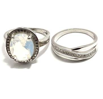 Solid .925 Sterling Silver, 8.50ctw Opal & 0.15ctw White Diamonique Lot of 2 Rings Size 7