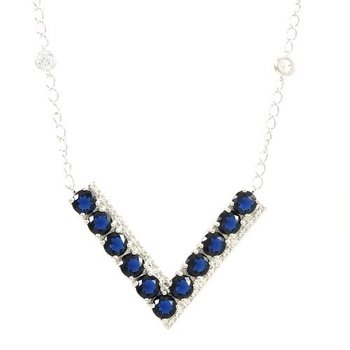 Solid .925 Sterling Silver, 8.71ctw Sapphire & Cubic Zirconia Necklace