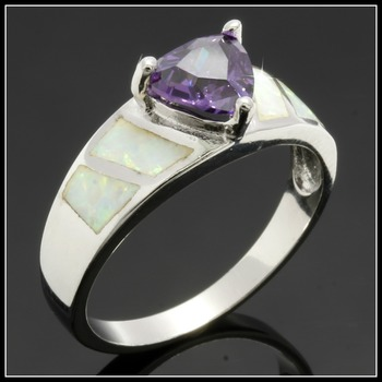 Solid .925 Sterling Silver Amethyst & Opal Ring Size 7