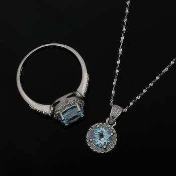 Solid .925 Sterling Silver Aquamarine, White Sapphire & Genuine Diamond Set of Necklace & Ring