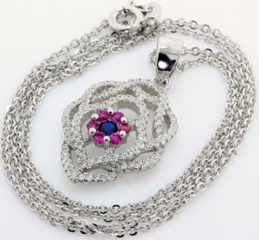 Solid .925 Sterling Silver, Blue, Pink & White Sapphire Necklace