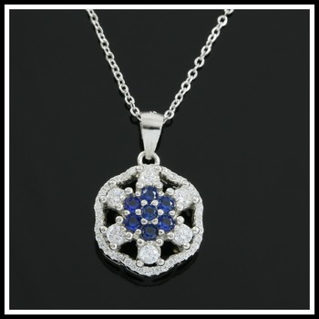 Solid .925 Sterling Silver, Blue & White Created Sapphire Necklace