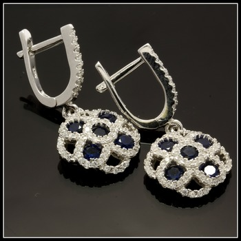 Solid .925 Sterling Silver, Blue & White Sapphire Earrings