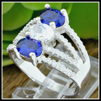 Solid .925 Sterling Silver, Blue & White Sapphire Ring sz 6