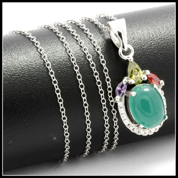Solid .925 Sterling Silver, Cabochon Emerald, Peridot, Garnet, Amethyst & White Sapphire Necklace