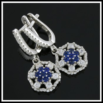 Solid .925 Sterling Silver, Created Blue & White Sapphire Earrings