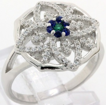 Solid .925 Sterling Silver, Emerald, Blue & White Sapphire Ring  size 7