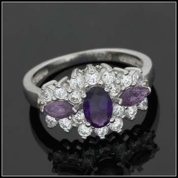 Solid .925 Sterling Silver Genuine Diamond & Amethyst & White Sapphire Ring Size 7.5
