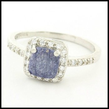 Solid .925 Sterling Silver, Genuine Dyed Sapphire & White Sapphire Ring sz 7