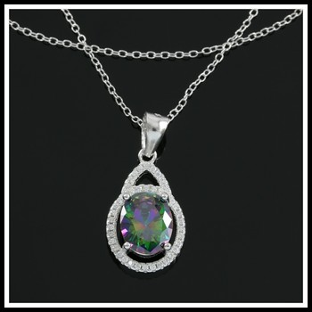 Solid .925 Sterling Silver, Genuine Green Mystic Topaz & White Sapphire Necklace