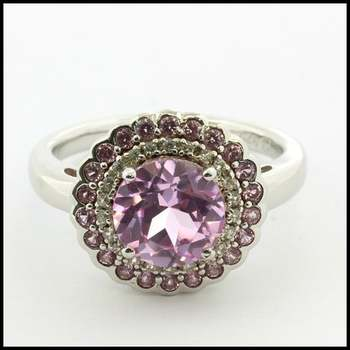 Solid .925 Sterling Silver, Genuine Pink Topaz & White Sapphire Ring sz 7