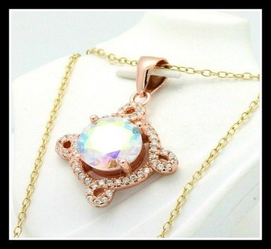 Solid .925 Sterling Silver, Mystic Topaz & AAA Grade Australian Cz's Necklace