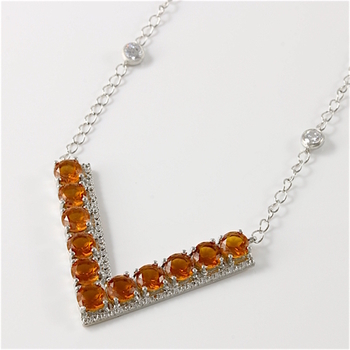Solid .925 Sterling Silver Orange & White Sapphire  Necklace