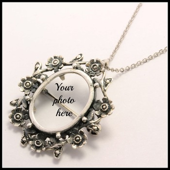 Solid .925 Sterling Silver Pendant/Pin Photo Frame