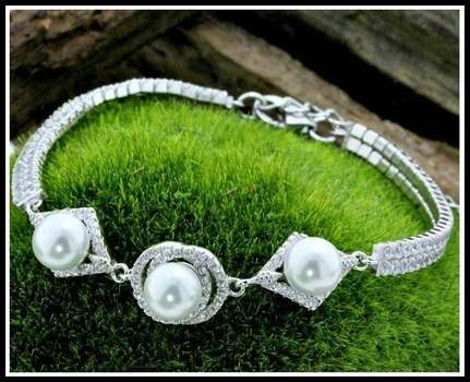 Solid .925 Sterling Silver & Platinum, 5mm Pearls & White Sapphire Bracelet