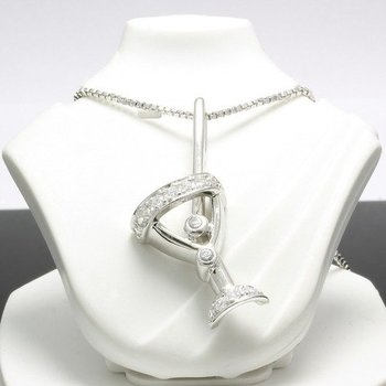 Solid .925 Sterling Silver & Platinum Martini Necklace