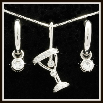 Solid .925 Sterling Silver & Platinum Martini Necklace & Earrings Set