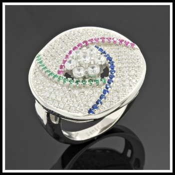 Solid .925 Sterling Silver & Platinum, Pink Sapphire, Blue Sapphire & Emerald  size 7