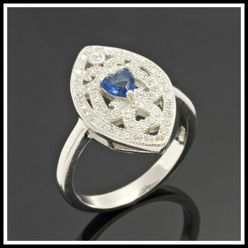 Solid .925 Sterling Silver & Platinum Plated, 0.25ctw Sapphire & 0.75ctw AAA Grade Australian Cz's Ring Size 8