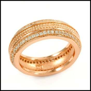 Solid .925 Sterling Silver & Rose Gold Plated, 1.45ctw AAA Grade CZ's Ring Size 7
