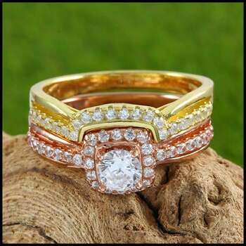 Solid .925 Sterling Silver & Rose&Yellow Gold Plated, 2.00ctw AAA Grade CZ's Set of Two Rings Size 7