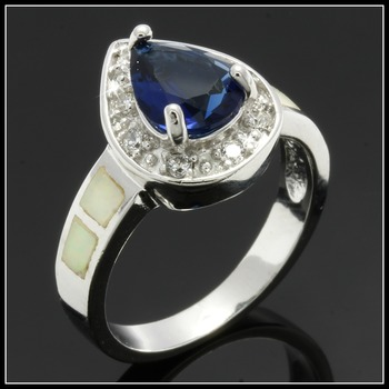 Solid .925 Sterling Silver Sapphire & Opal Ring Size 7