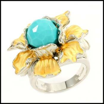 Solid .925 Sterling Silver, Turquoise Flower Design Ring Size 6 1/4
