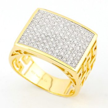 Solid .925 Sterling Silver w/18K Yellow Gold 0.75ct AAA Grade Italian CZ's Unisex Ring Size 9