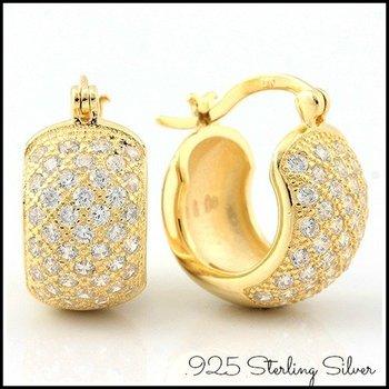 Solid .925 Sterling Silver w/18k Yellow Gold 1.00ct AAA Grade Italian CZ's Earrings