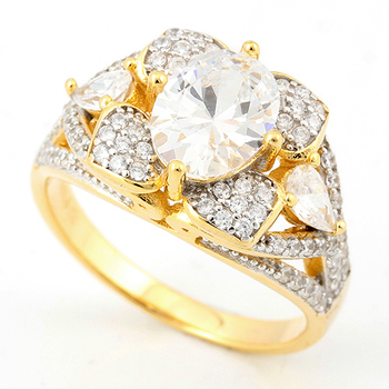 Solid .925 Sterling Silver w/18k Yellow Gold 3.25ct AAA Grade Italian CZ's Bridal Engagement Ring Size 7