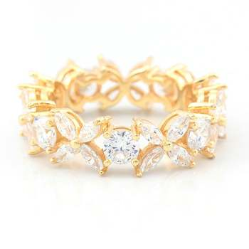 Solid .925 Sterling Silver w/18k Yellow Gold Overlay AAA Grade Italian CZ's Eternity Ring Size 7